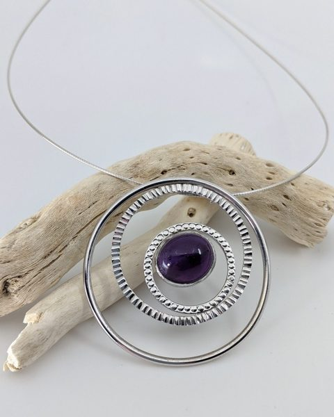 Amethyst Pendant on Sterling Silver Wire Chain