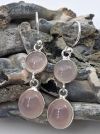 Rose Quartz Earrings, Drops