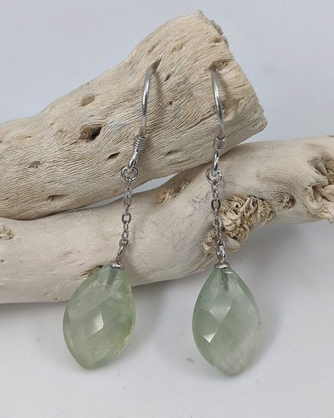 Prehnite Earrings, Drops
