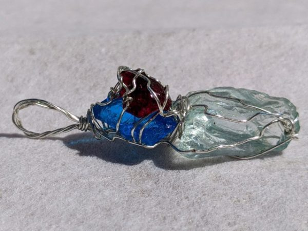 Andara Pendant, Wire Wrapped, Bright Blue, Pale Green & Scarlet Shift, Monatomic, Mt Shasta, USA