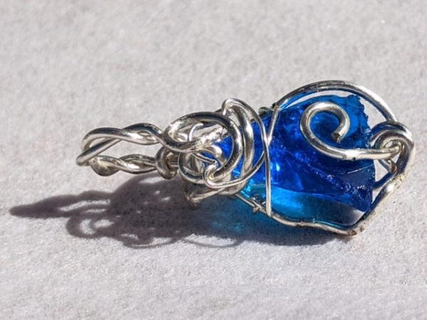 Andara Pendant, Wire Wrapped, Bright Blue, Monatomic, Mt Shasta, USA