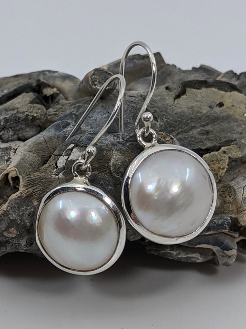 Pearl Earrings, Mabe, Cultured, Drops