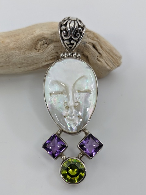 Mother of Pearl, Amethyst & Peridot Pendant