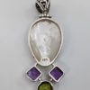 Mother of Pearl, Amethyst & Peridot Pendant