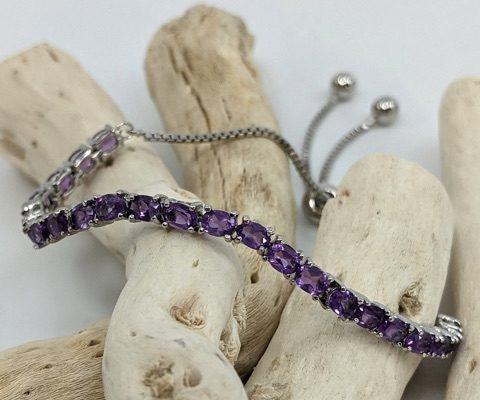 Adjustable Lariat Bracelet, Amethyst