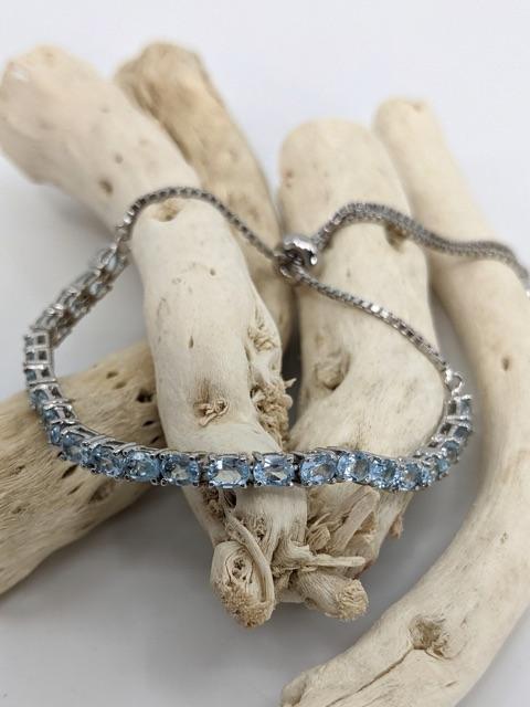 Adjustable Lariat Bracelet, Blue Topaz