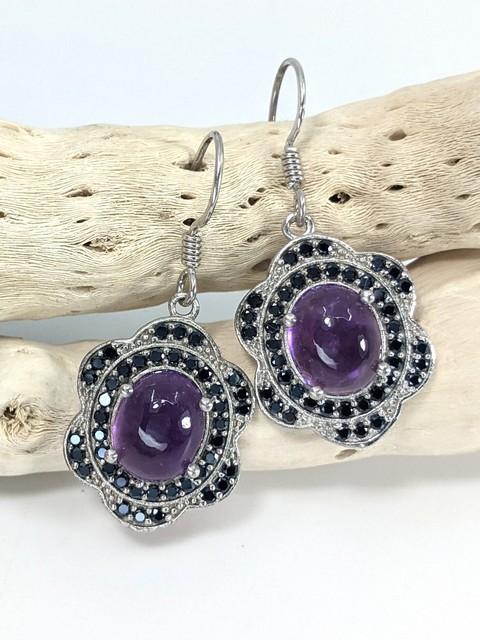 Amethyst & Marcasite Earrings, Drops