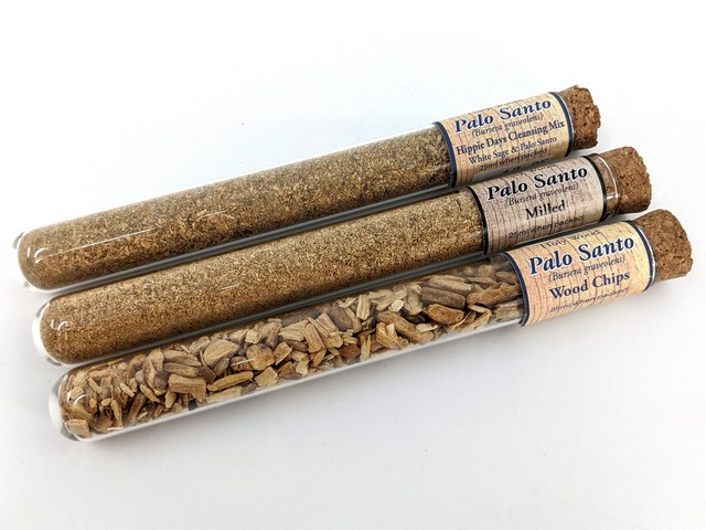 Palo Santo Test Tubes: Cleansing Mix, Milled, Wood Chips.