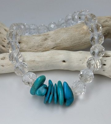 Quartz & Sleeping Beauty Turquoise Stretch Bracelet