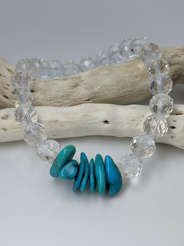 Quartz & Sleeping Beauty Turquoise Stretch Bracelet