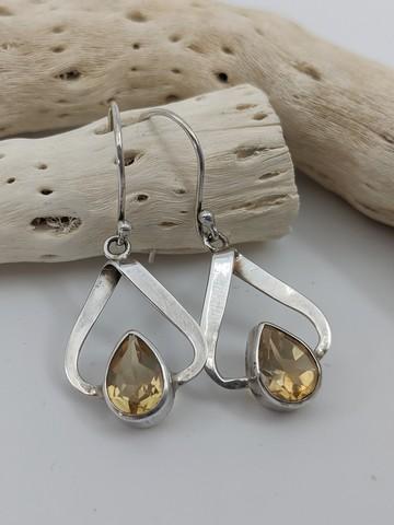 Natural Citrine Earrings, Drops