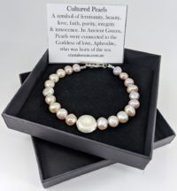 Cultured Pearl Bracelet with Disc Bead, Long Length