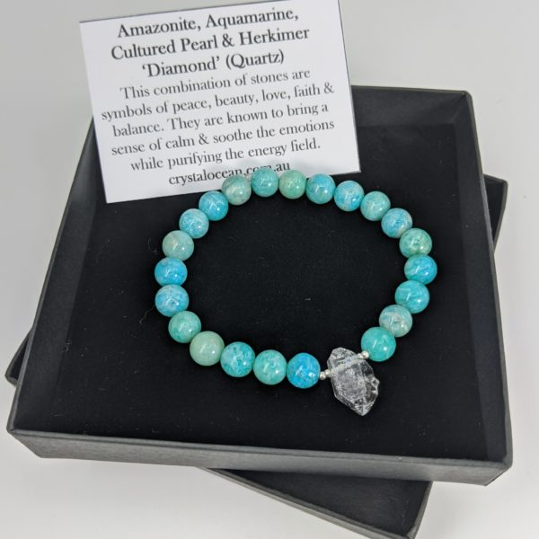 Amazonite & Herkimer Diamond (Quartz) Stretch Bracelet