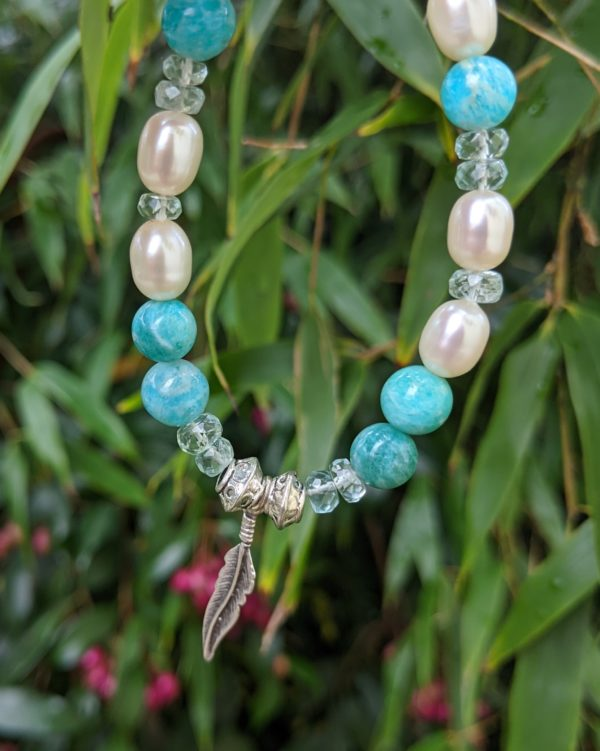 Amazonite, Aquamarine, Cultured Pearl & Herkimer Diamond (Quartz) Bracelet with Feather, Toggle Clasp